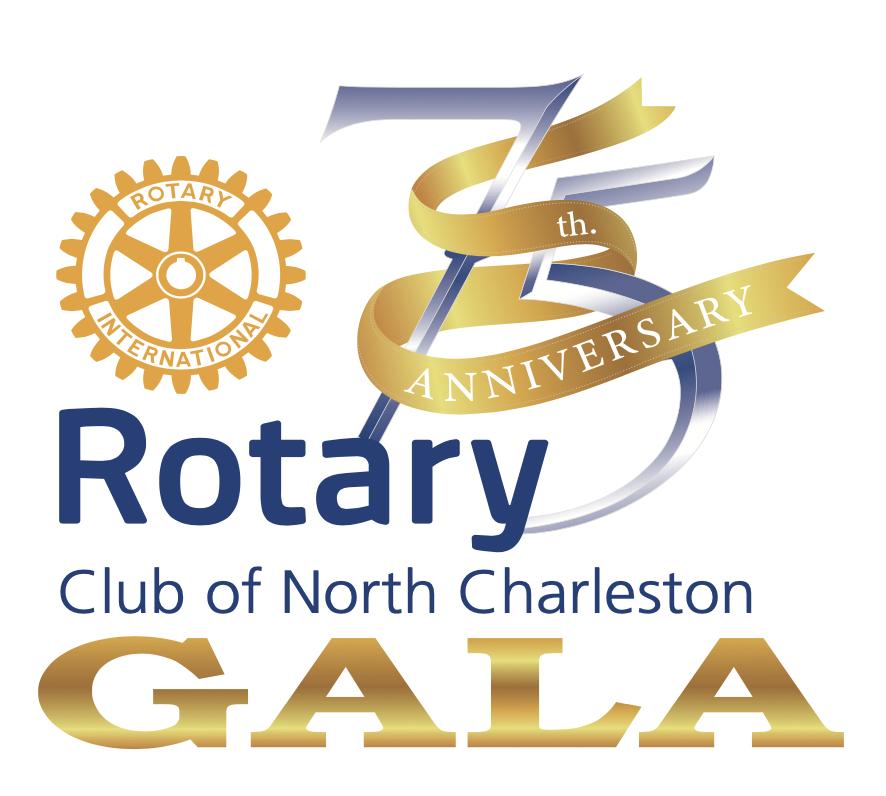 Showcase the North Charleston Rotary 75th Anniversary logo